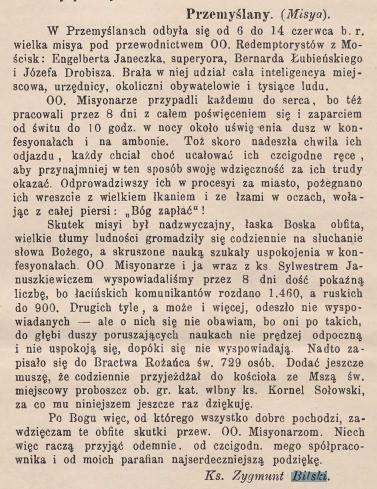 1890 nr 13 - List Zygmunta Bilskiego do czasopisma Bonus Pastorus