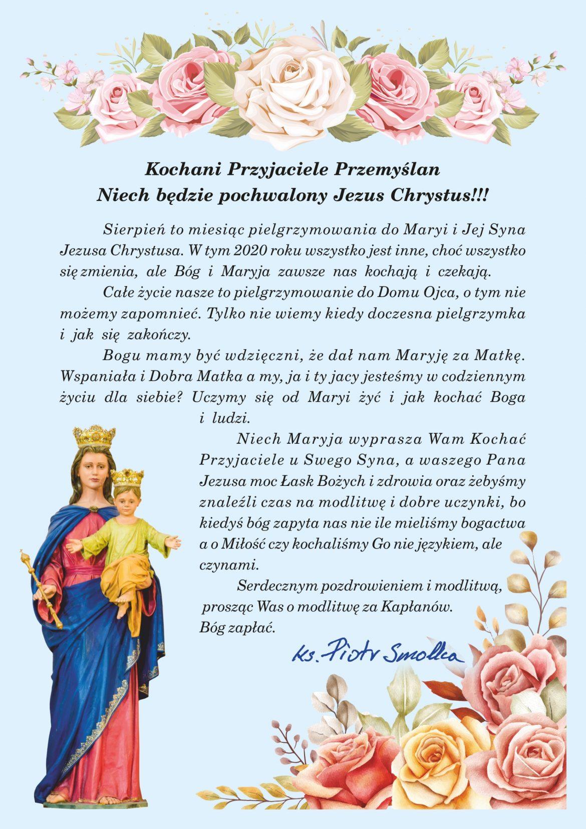 Krótki list Proboszcza na sierpień 2020