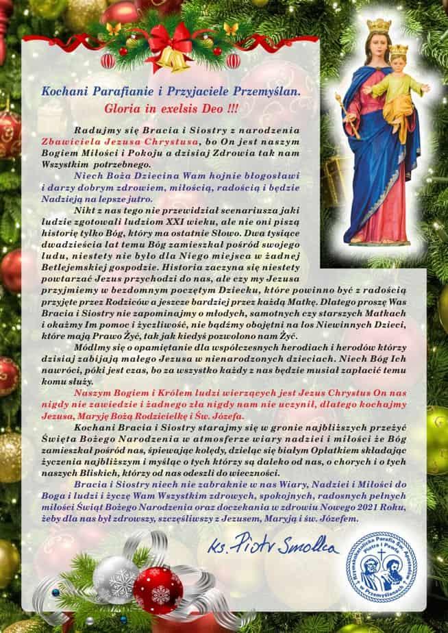 Boże Narodzenie 2020 i Nowy Rok – list proboszcza